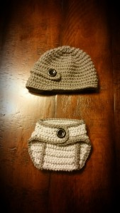 Newsboy Hat with Strap and Diaper Cover.